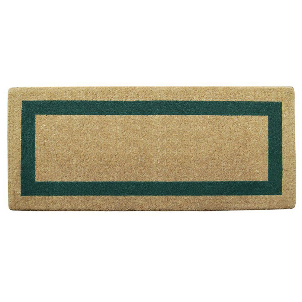 Single Picture Frame Green 24 in. x 57 in. Coir Door Mat