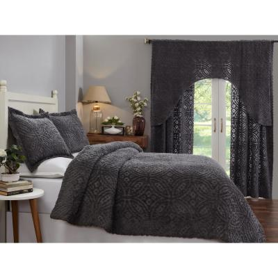 Double Wedding Ring Collection & Design Gray King 100% Cotton Tufted Unique Luxurious Soft Plush Chenille Comforter