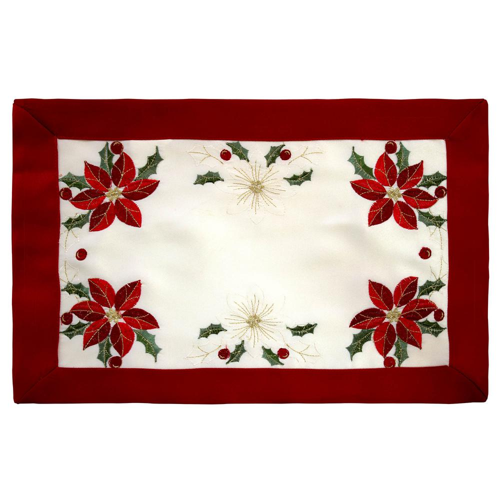 CHI BY CARLOS FALCHI Holiday Embroidered Poinsettia 13 in...