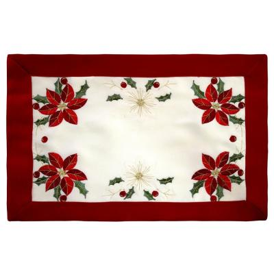 Holiday Embroidered Poinsettia 13 in. x 19 in. Cloth Place Mats with Red Trim Border (4-Set)