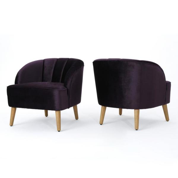 Amaia Blackberry and Walnut Velvet Club Chairs (Set of 2)