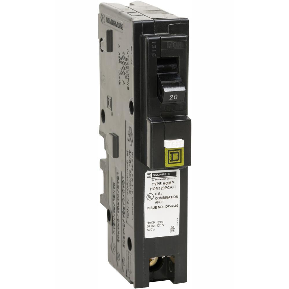 Homeline 20 Amp Single-Pole Plug-On Neutral Combination Arc Fault Circuit Breaker