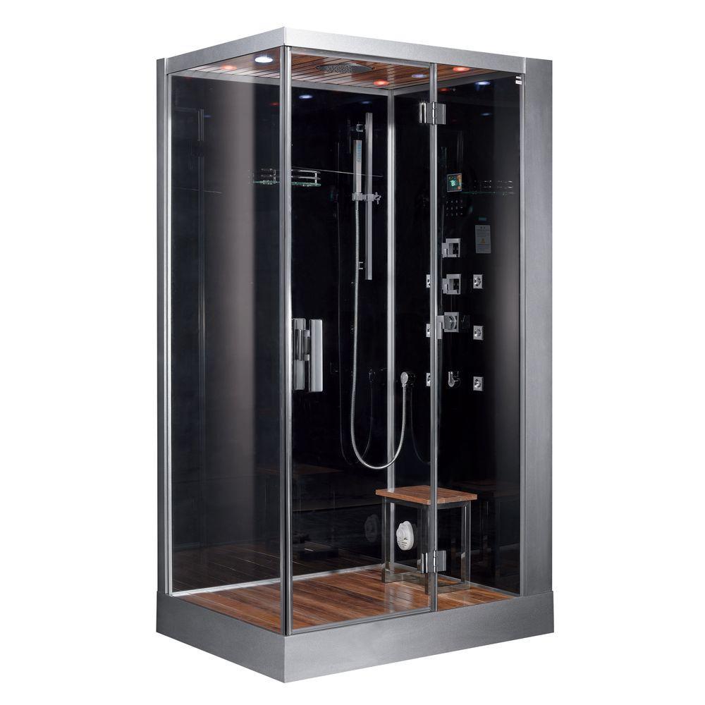 Ariel 47 inch x 35.4 inch x 89.1 inch Steam Shower Enclosure Kit in Black by Ariel