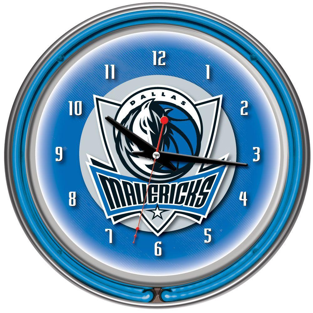 Trademark Global 14 in. Dallas Mavericks NBA Chrome Double Ring Neon Wall Clock