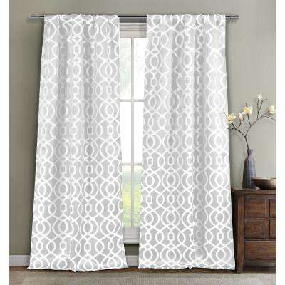 Geometric White Polyester Blackout Grommet Window Curtain 36 in. W x 96 in. L (2-Pack)
