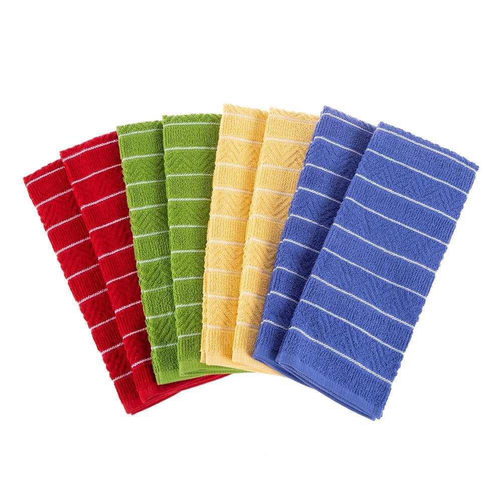 Multi-Color Chevron Weave Cotton Kitchen Towel Set (8-Pieces)