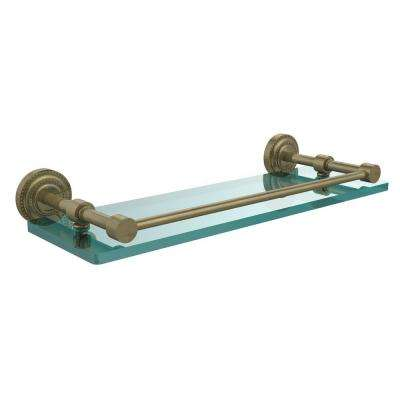 Dottingham 16 in. L  x 3 in. H  x 5 in. W  Clear Glass Bathroom Shelf with Gallery Rail in Antique Brass