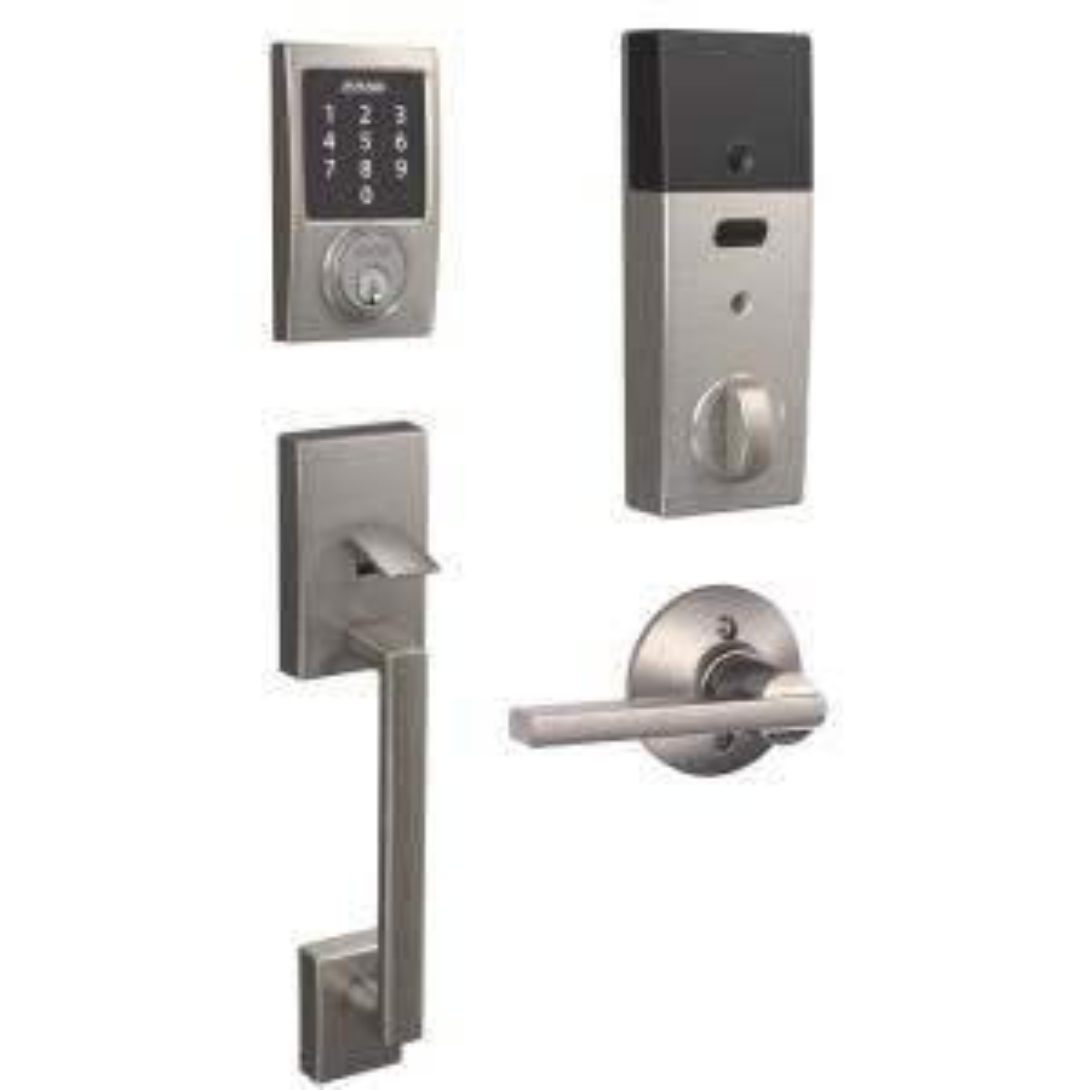Century Satin Nickel Connect Smart Lock with Alarm and Latitude Lever Handleset