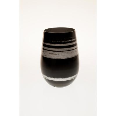 Cosmo 16.5 oz. Stemless Wine Tumbler - Black/Silver (Set of 4)