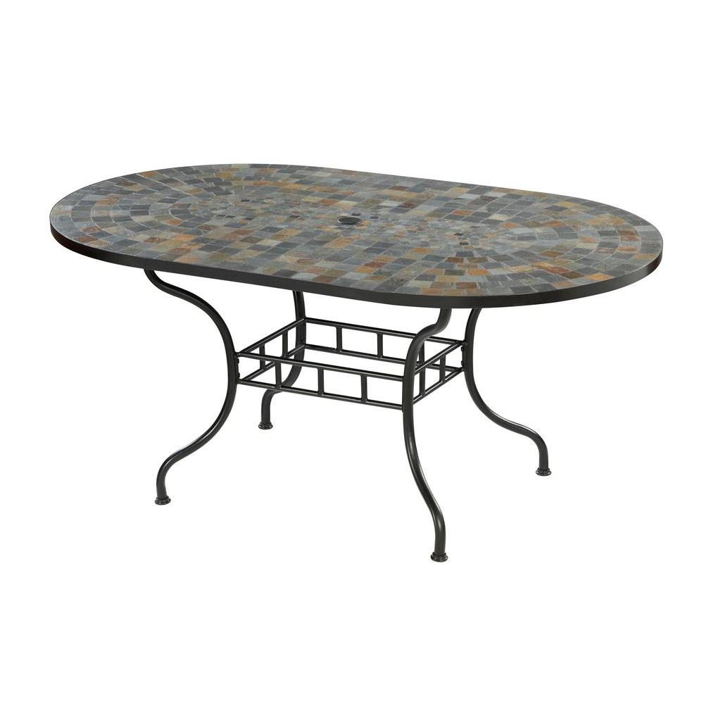 Home Styles Stone Harbor 65 in. x 40 in. Slate Tile Top Patio Dining - Home Styles Stone Harbor 65 In. X 40 In. Slate Tile Top Patio Dining