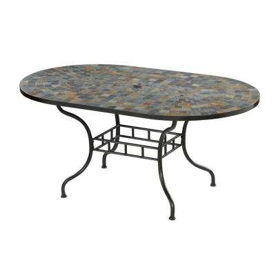 Stone Harbor 65 In X 40 Slate Tile Top Patio Dining Table