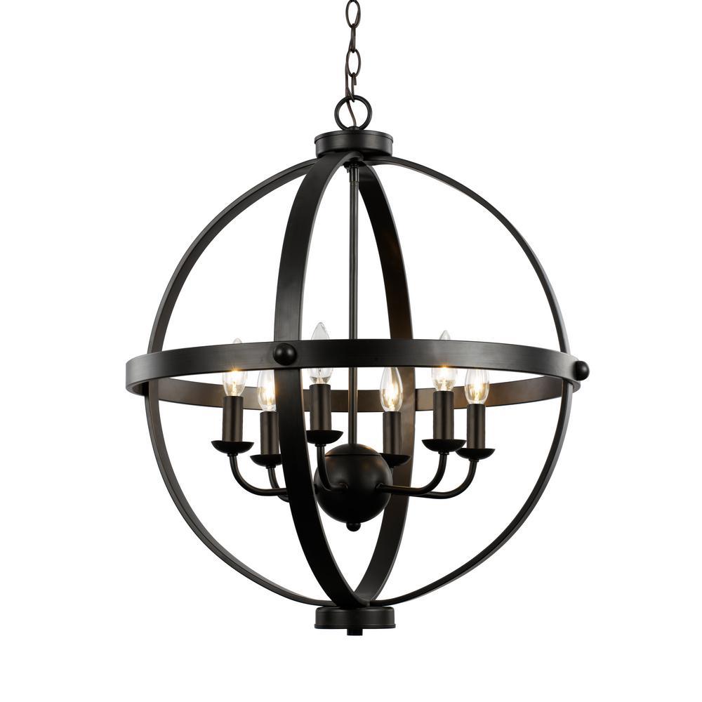 Bel Air Lighting 6-Light Rustic Axel Rubbed Oil Bronze Chandelier