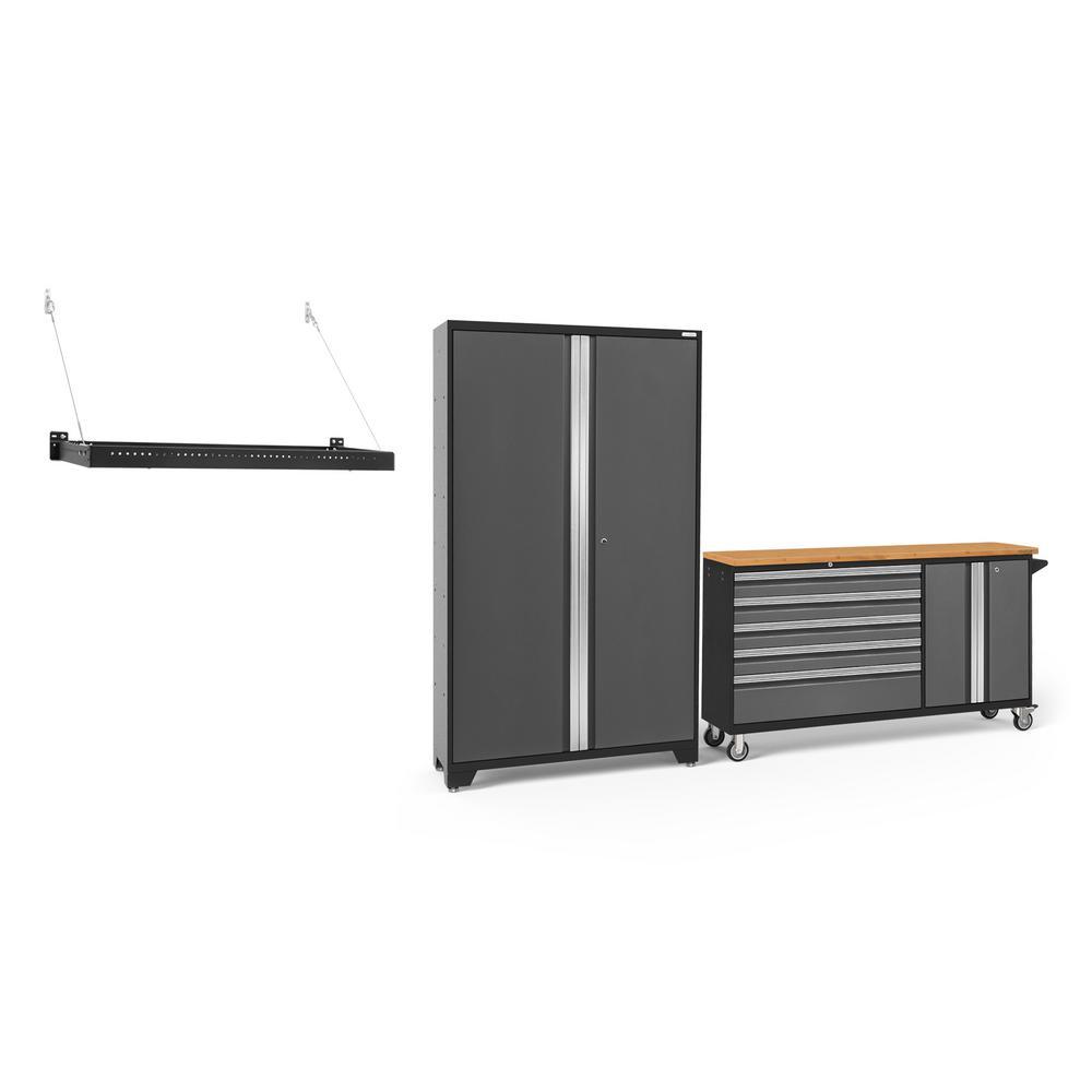 Bold Series 3.0 104 in. W x 77.25 in. H x 18 in. D 24-Gauge Welded Steel Garage Cabinet Set in Gray (2-Piece)