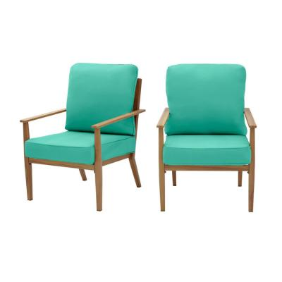 Alderton Brown Steel Outdoor Patio Lounge Chair with CushionGuard Seaglass Turquoise Cushions (2-Pack)