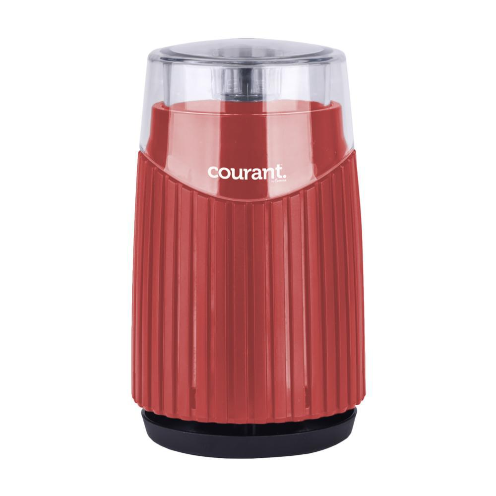Coffee, Bean and Spices Grinder in Red Enjoy a fresh cup of coffee every morning with the Courant Coffee, Bean and Spices Grinder. The grinder is suitable for coffee, beans, spices, tea leaves, herbs, and nuts. It comes with sturdy and durable base, stainless-steel bowl and stainless-steel blades that turns coarse coffee beans into freshly ground coffee. Provides 6-cups of coffee capacity in bowl. Transparent lid allows the fineness grade to be observed. Color: Red.