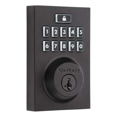 SmartCode 913 Contemporary Matte Black Single Cylinder Electronic Deadbolt Featuring SmartKey Security