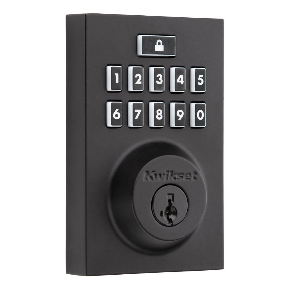 Kwikset Kwikset SmartCode 914 Z-Wave Contemporary Iron Black Single Cylinder Electronic Deadbolt Featuring SmartKey Security