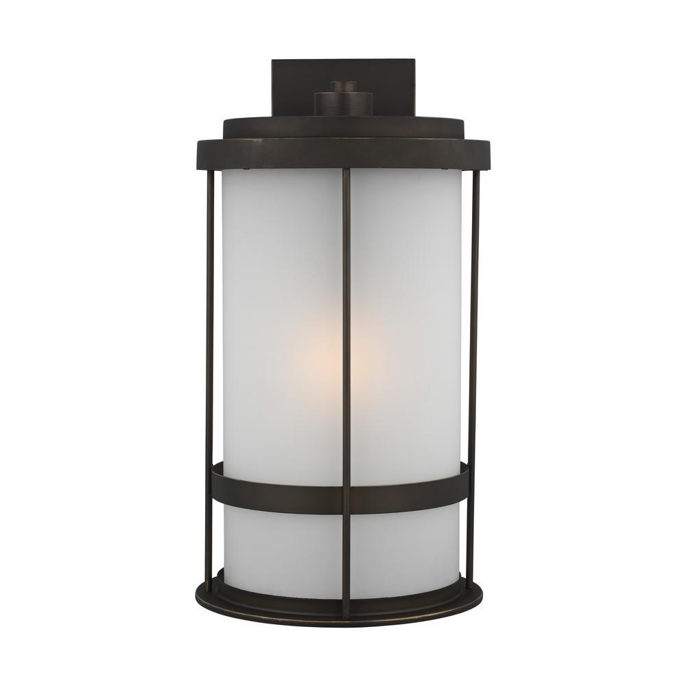 Wilburn Extra Large 1-Light Antique Bronze Outdoor Wall Lantern