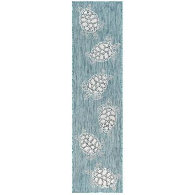 Liora Manne Carmel Seaturtles Aqua 23 in. x 7 ft. 6 in. Indoor/Outdoor Runner Rug