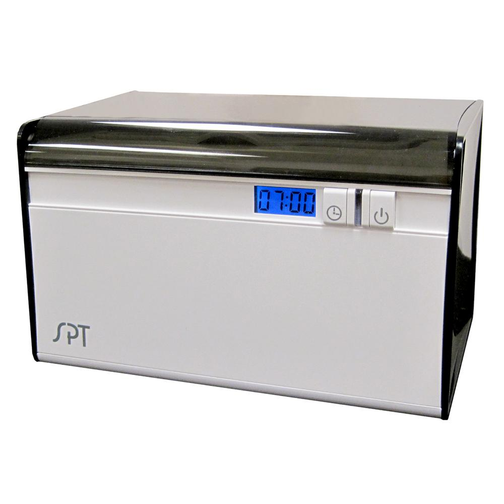 SPT Ultrasonic Cleaner Delivers professional ultrasonic cleaning at home. With a powerful 40,000 cycles of ultrasonic wave per second of energy, this cleaner quickly and quietly restores shine and luster to your treasured jewelry; removes dirt, grime and grease from glasses, dentures and other articles. Uses no chemical additives - simply fill the stainless steel tank with clean water and with a push of a button, you'll get dazzling results.
