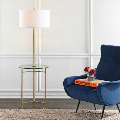 Charles 59 in. Metal/Glass LED Side Table and Floor Lamp, Brass