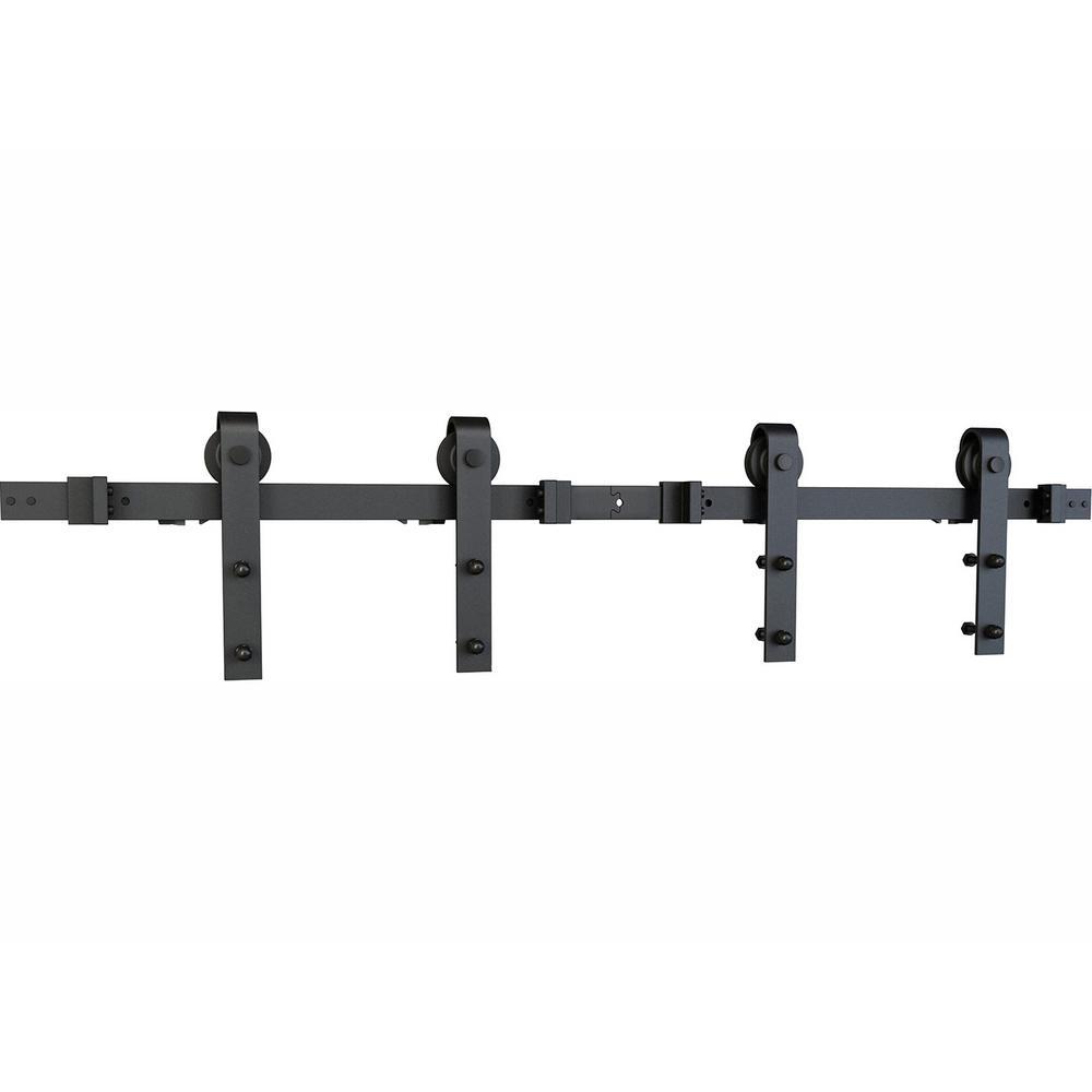 American Pro Decor Soft Close Black Solid Steel Sliding Rolling Barn Door Hardware Kit for Double Wood Doors