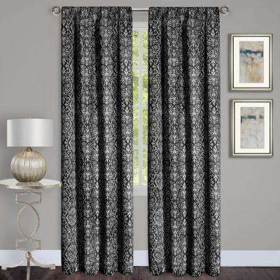 Madison Black Polyester Rod Pocket Curtain - 54 in. W x 63 in. L