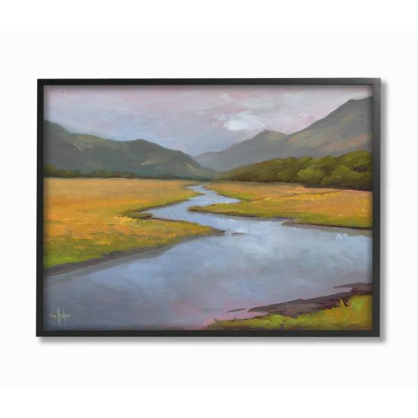 16 In X 20 In Gentle Meadow Stream Through The Mountains Painting Black Framed Wall Art By Penny Lane Publishing