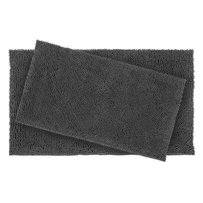 Plush Shag Chenille Gray 21 in. x 34 in. and 17 in. x 24 in. 2-Piece Bath Rug Set