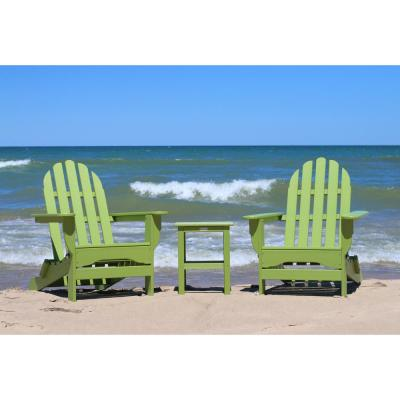Icon Lime Recycled Plastic Folding Adirondack Chair with Side Table (2-Pack)