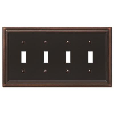 Continental 4 Gang Toggle Metal Wall Plate - Aged Bronze