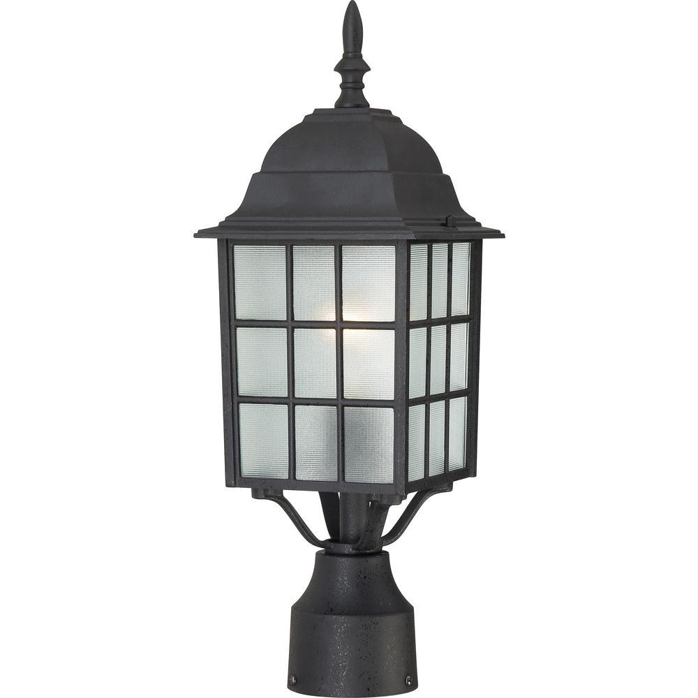 1-Light Outdoor Textured Black Post Light