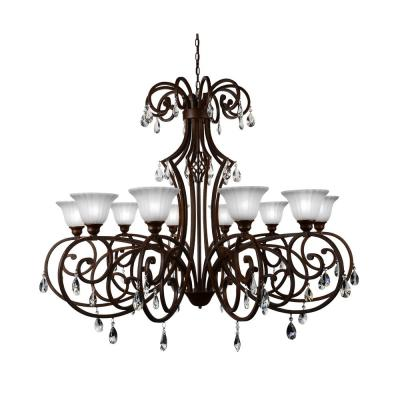 Shakira 10-Light Dark Bronze Chandelier with White shade