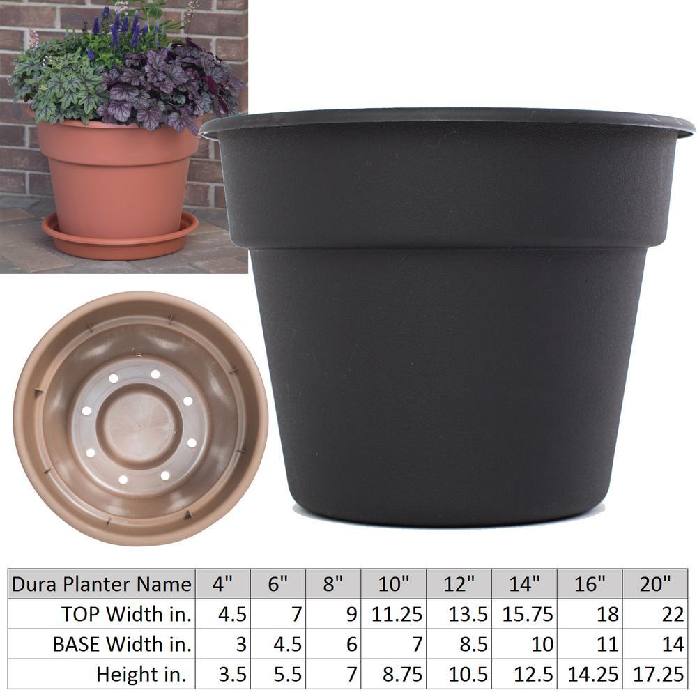 14 in. x 12.5 Black Dura Cotta Plastic Planter