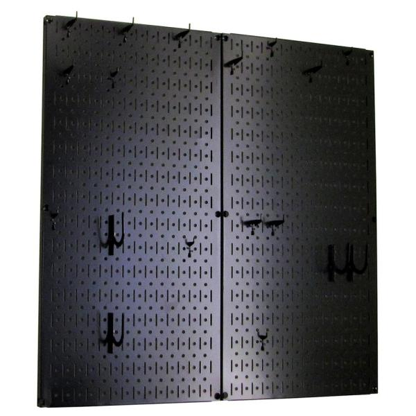 Kitchen Pegboard 32 in. x 32 in. Metal Peg Board Pantry Organizer Kitchen Pot Rack Black Pegboard and Black Peg Hooks