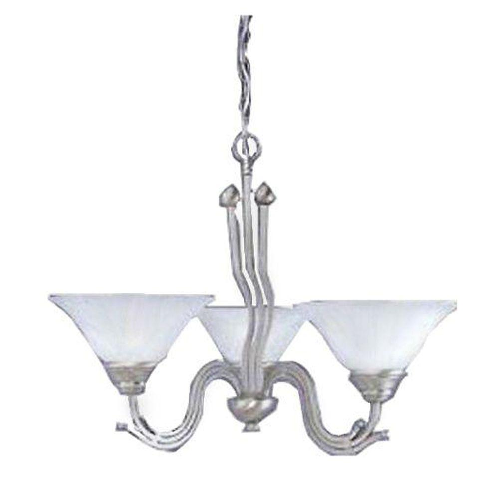 Concord Series 3-Light Brushed Nickel Chandelier with White Marble Glass Shade