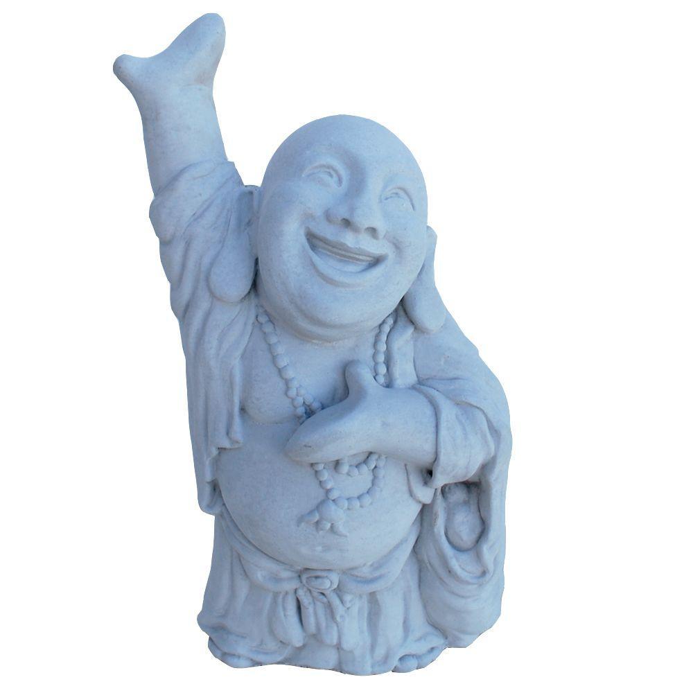 Cast Stone Hotai Buddha Garden Statue, Antique Gray
