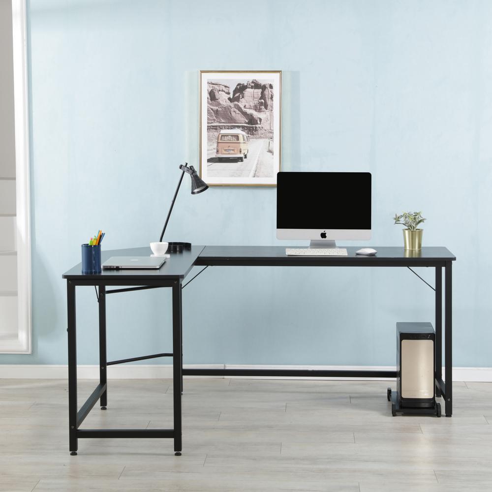 Harper & Bright Designs Black Modern Design L-Shaped Desk ...