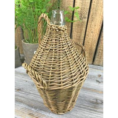 Wicker Brown Woven Bottle with Natural Handle