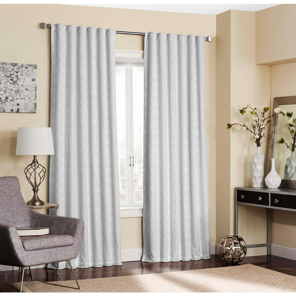 Blackout White Polyester Rod Pocket Curtain