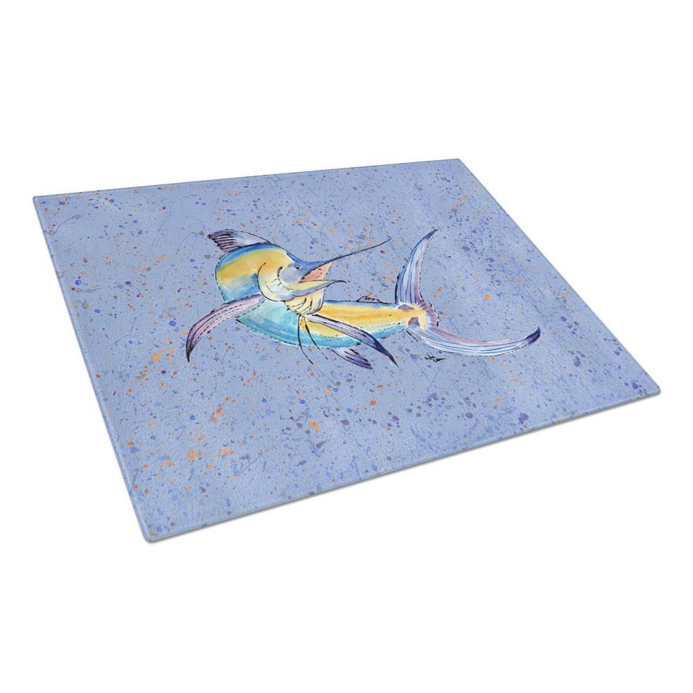 Caroline's Treasures Blue Marlin Tempered Glass Large Cutting Board 8350LCB