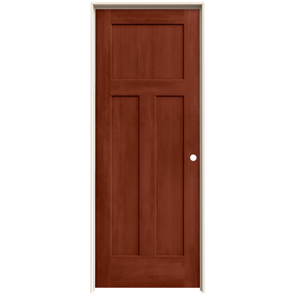 Jeld wen 28 in x 80 in craftsman amaretto stain left - Interior prehung solid core doors ...