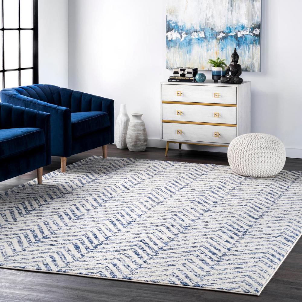 Rosanne Geometric Herringbone Blue 9 ft. x 12 ft. Area Rug