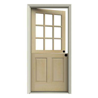 32 in. x 80 in. 9 Lite Unfinished Wood Prehung Left-Hand Inswing Dutch Front Door w/Primed AuraLast Jamb and Brickmold