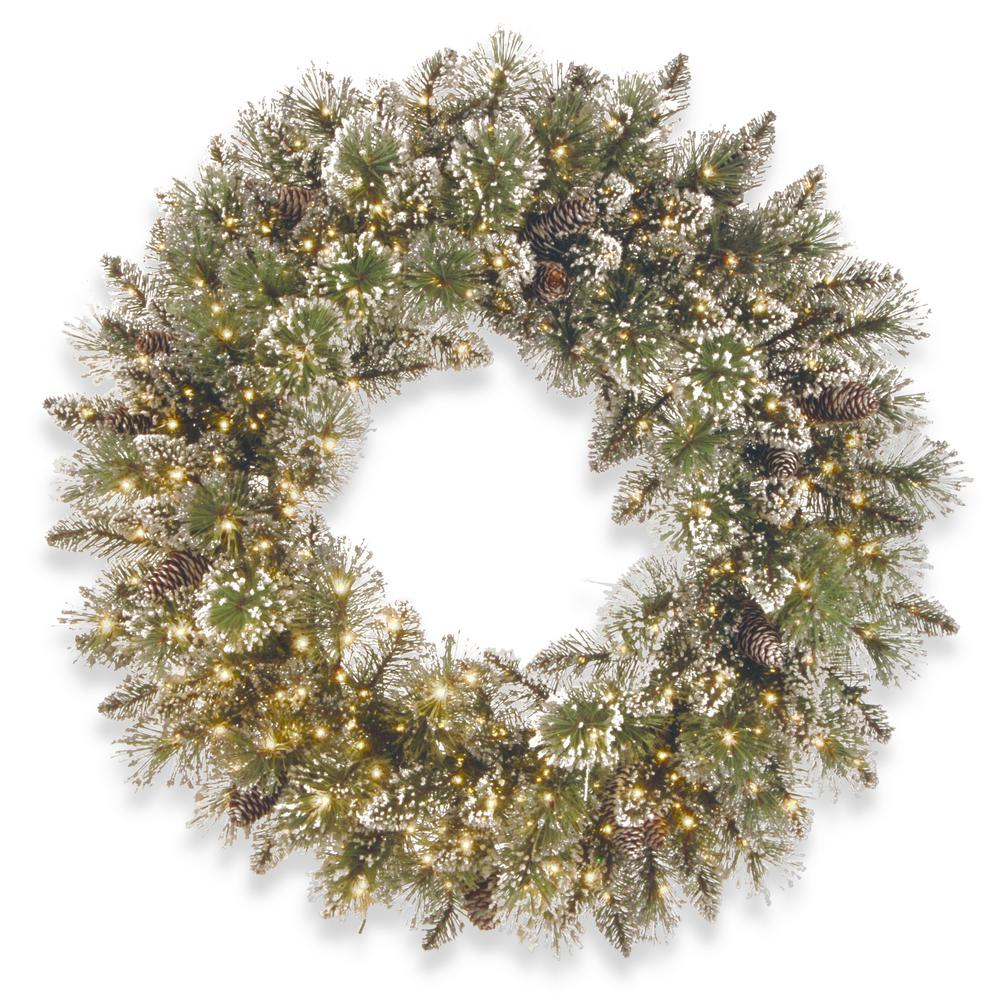 24 in. Glittery Bristle Pine Wreath with Infinity Lights