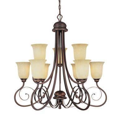 9-Light Rubbed Bronze Chandelier with Turinian Scavo Glass