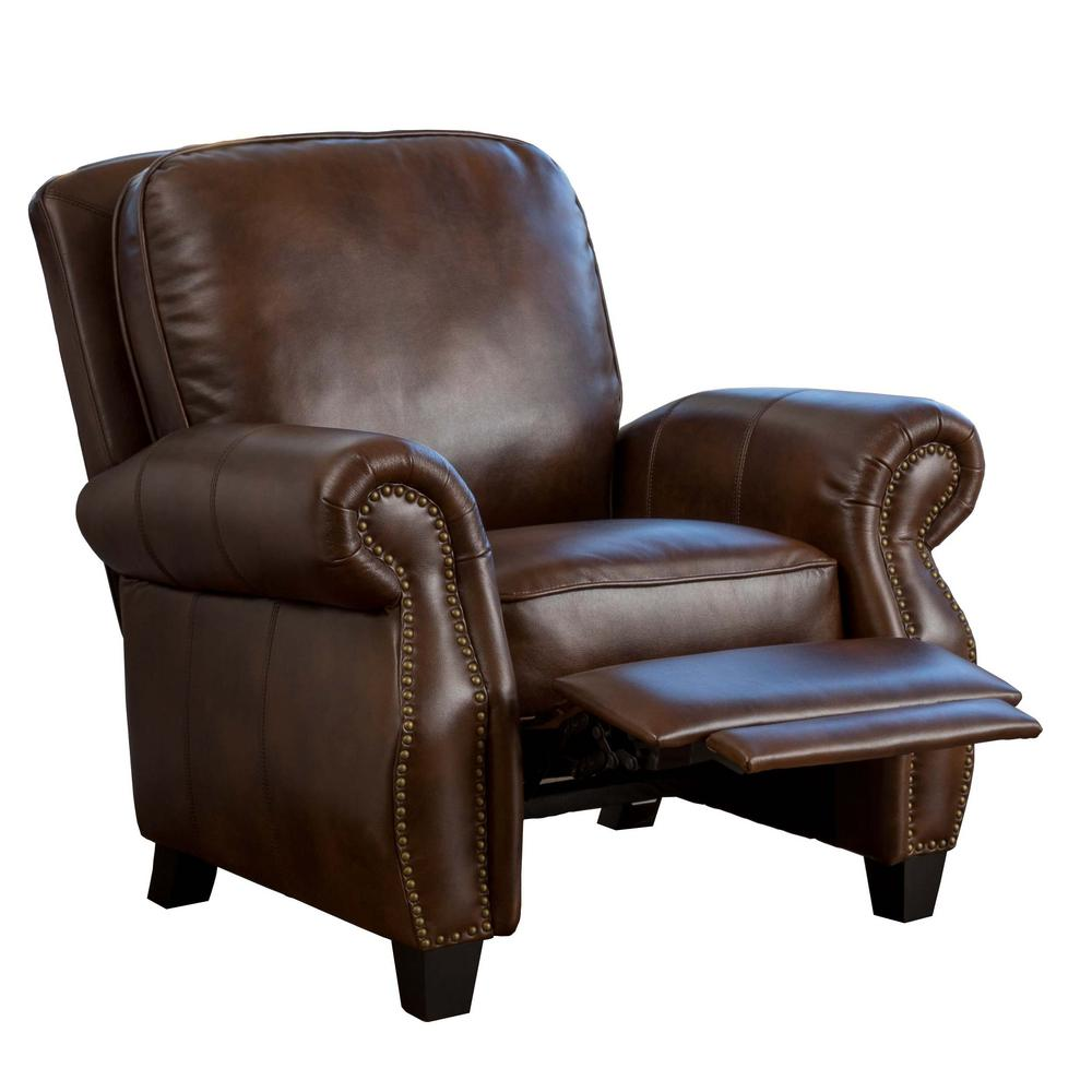 NobleHouse Noble House Neville 2-Tone Brown PU Leather Recliner