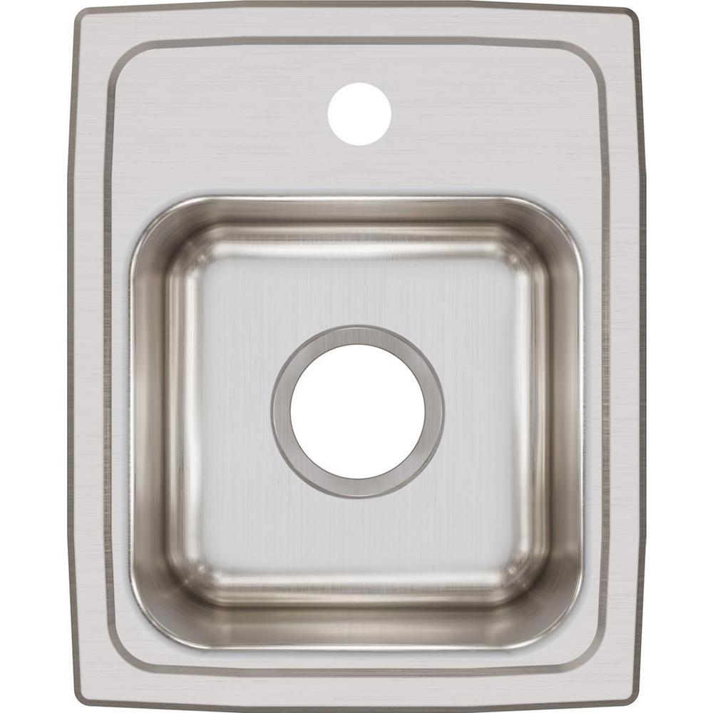 Lustertone 18 Gauge Stainless Steel 13 in. 1-Hole Drop-in Bar Sink