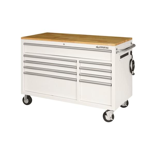 52 in. 9-Drawer Mobile Workbench in Gloss White