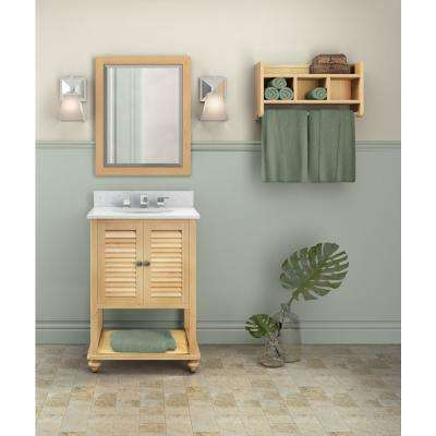 Tahiti 25 in. W x 22 in. D Vanity in Natural with Marble Vanity Top in White with White Basin and Mirror
